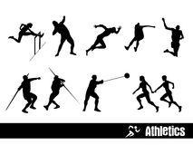 Athletics silhouettes Stock Photography