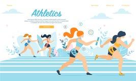 Athletics Sportswomen Take Part in Relay Race Run royalty free illustration