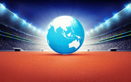 Athletics stadium with Asian earth map Royalty Free Stock Photo