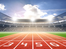 Athletics stadium. An imaginary stadium is modelled and rendered Royalty Free Stock Photography