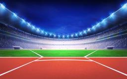 Athletics stadium with javelin throw post Stock Photo