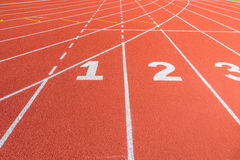 Athletics stadium with the numbering. Royalty Free Stock Photo