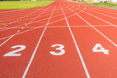 Athletics stadium with the numbering. Stock Photography