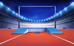 Athletics stadium with pole jump post Royalty Free Stock Photo