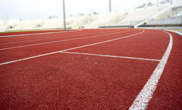 Athletics Stadium Running track curve Royalty Free Stock Photo