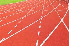 Athletics stadium running track Stock Images