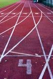 Athletics stadium running track. Stock Photos