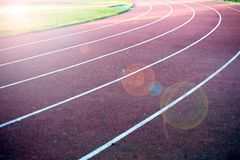 Athletics stadium running track. Royalty Free Stock Photos