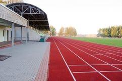 Athletics stadium running tracks football pitch Stock Photo