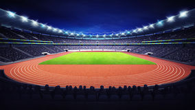 Athletics stadium with track and grass field at front night view. Sport theme render illustration background Royalty Free Stock Photo