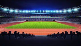Athletics stadium with track and grass field at side night view. Sport theme render illustration background Royalty Free Stock Photo