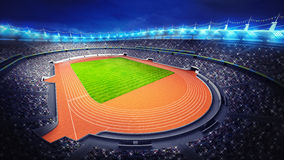 Athletics stadium with track and grass field at upper night view. Sport theme render illustration background Royalty Free Stock Image