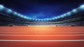 Athletics stadium with track at panorama night view stock photo