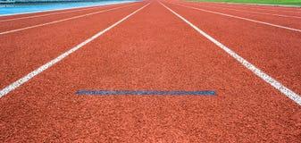 Athletics start Track Lane. Athletics Track Lane made with orange rubber Stock Photos