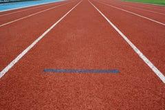 Athletics start Track Lane. Athletics Track Lane made with orange rubber Stock Image