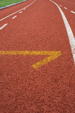 Athletics start Track Lane. Athletics Track Lane made with orange rubber Royalty Free Stock Photography