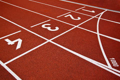 Athletics Start track lanes Stock Photos