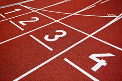 Athletics Start track lanes Stock Images