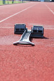 Athletics starting blocks. Royalty Free Stock Photography