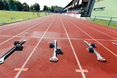 Athletics starting blocks. Royalty Free Stock Images