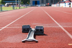 Athletics starting blocks. Royalty Free Stock Photo