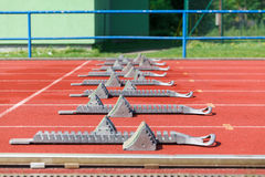 Athletics starting blocks. Stock Image