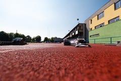 Athletics starting blocks. Royalty Free Stock Photo