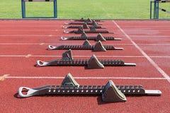 Athletics starting blocks. Stock Images