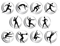 Athletics symbols. Vector isolated athletics symbols in black color Royalty Free Stock Images