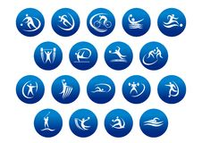 Athletics and team sport icons or symbols. For sporting and fitness logo design Royalty Free Stock Photo