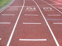 Athletics track. Lanes with numbers on an athletics track Royalty Free Stock Photography