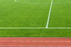 Athletics track and football field Stock Photography