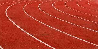 Athletics Track Lane. In curve position royalty free stock image