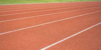Athletics Track Lane. Made with orange rubber Stock Photography