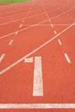 Athletics track lane number one Royalty Free Stock Photography