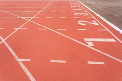 Athletics track lane number one to eight Royalty Free Stock Photos