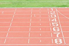 Athletics Track Lane Numbers Royalty Free Stock Images