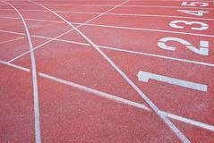 Athletics Track Lane Numbers Stock Photography