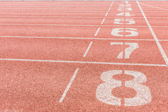 Athletics Track Lane Numbers Royalty Free Stock Photos