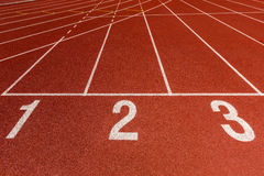 Athletics Track Lane Numbers Stock Photo
