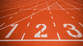 Athletics track. With number 1 2 3 royalty free stock images