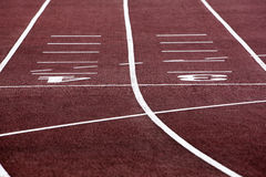 Athletics track. Selective focus on athletics track lane numbers Royalty Free Stock Photography
