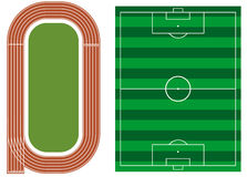 Athletics track with soccer field Stock Photo