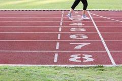 Athletics track in stadium Stock Images