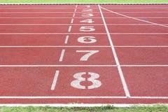 Athletics track in stadium Royalty Free Stock Photos