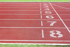 Athletics track in stadium Stock Photography