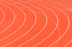 Athletics track. With white curve line royalty free stock images