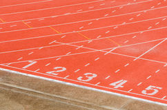 Athletics track. With white curve line stock photos