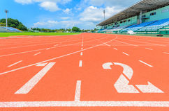 Athletics track. With white line and number 1-2 royalty free stock images