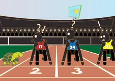 Athletics. Turtle versus mankind and audiences have fun Royalty Free Stock Image